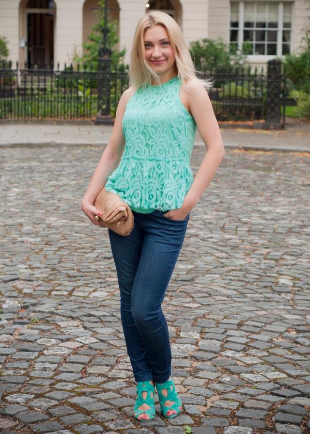 lace top & jeans