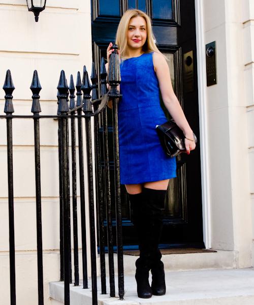 suede trend mini dress amp boots fashion blues
