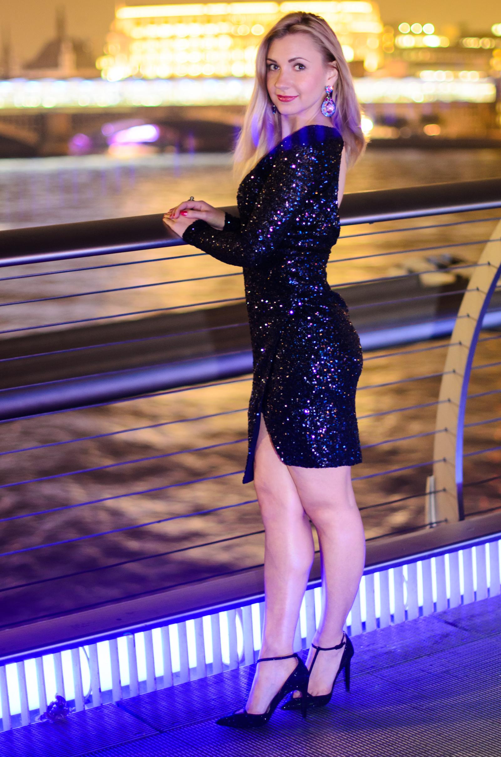 Midnight Blue Sequin Dress Amp Crystal Heels Fashion Blues