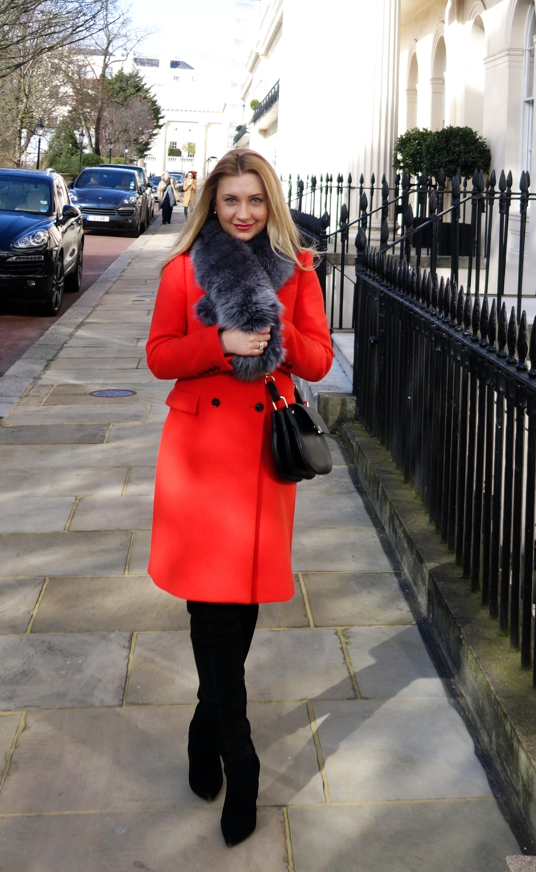 Colour Burst: Red Coat & Fur Scarf | Fashion Blues